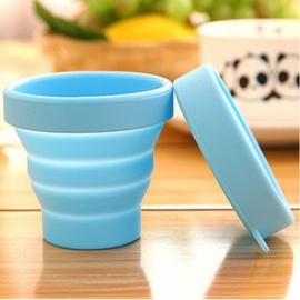 Portable Silicone Folding Water Cup Candy Color Silicone Traveling Foldable Cups For Travel Outdoor Camping Drinkware Yellow