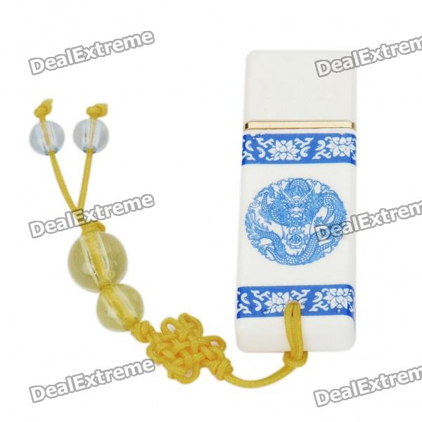 Cool Porcelain Style USB 2.0 Flash Drive - White + Blue (2GB)