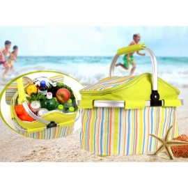 Outdoor Picnic Folding Insulation Bag Package, Barbecue Bag Basket, Car Food Box Fresh Ice Pack For Camping Green