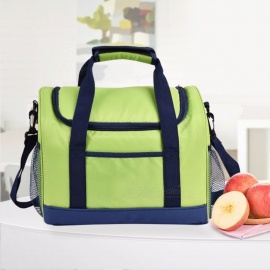 Oxford Thermo Cooler Insulated Lunch Bag For Women Men, Thermal Picnic Tote Bag / Inclined Shoulder Handbag Green