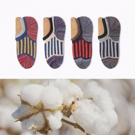 Size 39-44 Causal Thick Needle Jacquard Wool Boat Socks, Breathable Sweat-Proof No Show Socks For Men Women (5 Pairs) Multi