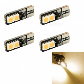 HONSCO 4PCS W5W T10 4x5050 LED Warm White Car Reading Lights License Plate Light Width Light DC12V