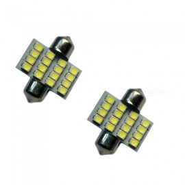 HONSCO 2PCS Festoon 31mm 16SMD 3528 6500K Cold White 1W Reading Lamps DC12V