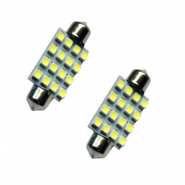 HONSCO 2PCS Festoon 41mm 16SMD 3528 6500K Cold White 1W Reading Lamps DC12V