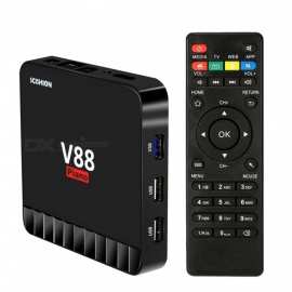 V88 Piano Android TV Box 4GB RAM 16GB ROM RK3328 Quad Core 4K Smart TV Box Android 7.1 USB 3.0 EU Plug - Black