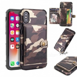 COOHO iPhone X Mobile Phone Case Camouflage Pattern Multi-function Shockproof Mobile Phone Case - Coffee
