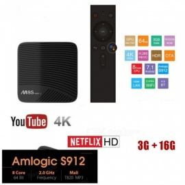 M8S Pro L Android 7.1 Amlogic S912 Smart TV Box with 3GB RAM, 16GB ROM - EU Plug