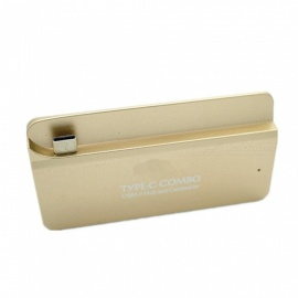 quelima type-c hub a USB 3.0 lector de tarjetas SD / TF card adapter - gold