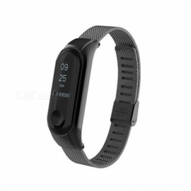 metal replacement wrist band strap für mi band miband 3 smart armband - schwarz