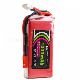HJ Power 7.4V 25C 1300mAh Rechargeable Lipo Battery w/ JST Plug for Glider KT Machine, RC Drone Car Boat