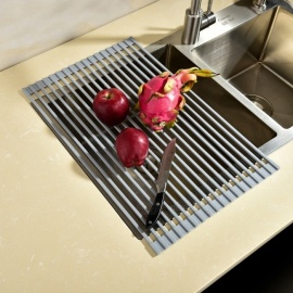 Square Rollable Stainless Steel Dish Drying Rack, Over the Sink Dish Drying Rack, Collapsible Dish Drainer for Kitchen