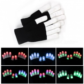 JIAWEN 7-Mode LED Finger Lighting Flashing Glow Mittens Gloves, Festive Supplies (1 Pair)