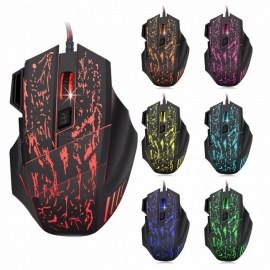 S9 Optical Backlit Wired Gaming Mouse, 7 Buttons LED Optical USB Computer Mouse Mice w/ 3600DPI Colorful Breathing Light