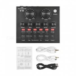 External Audio Mixing Sound Card w/ USB Audio Interface with Multiple Sound Effects