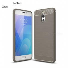 ZHAOYAO Protective Soft TPU Carbon Fiber Brushed Back Cover Case for Meizu Charm Blue Note 6 - Grey
