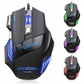 Darshion S8 Optical Backlit Wired Gaming Mouse, 7 Buttons LED Optical USB Computer Mice w/ 3200DPI Colorful Breathing Light