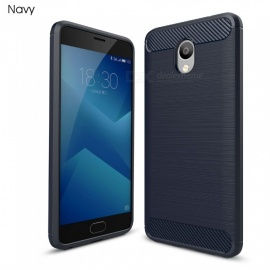 ZHAOYAO Protective Soft TPU Carbon Fiber Brushed Back Cover Case for Meizu Charm Blue Note 5 - Navy