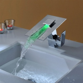 Brass LED RGB Waterfall Deck Mounted Ceramic Valve One Hole Chrome, Bathroom Sink Faucet w/ Single Handle
