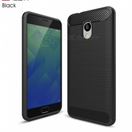 ZHAOYAO Protective Soft TPU Carbon Fiber Brushed Back Cover Case for Meizu Charm Blue 5S - Black