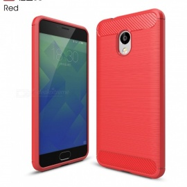 ZHAOYAO Protective Soft TPU Carbon Fiber Brushed Back Cover Case for Meizu Charm Blue 5S - Red