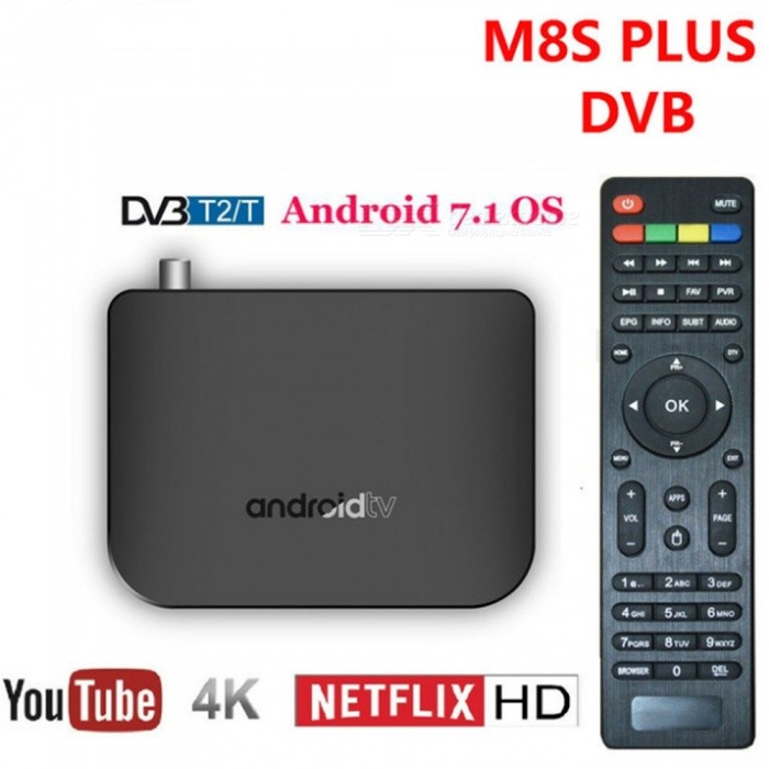 M8S Plus DVB - T2 / T / C Amlogic S905D Android 7 1 TV Box with 1GB RAM,  8GB ROM, 2 4G Wi-Fi