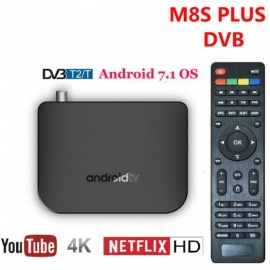 M8S plus DVB - T2 / T / C amlogic S905D android 7.1 TV box con 1GB de RAM, 8GB ROM, 2.4G wi-fi - Enchufe de la UE