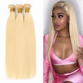 Hair Extension Human Hair Bundles With Closure Brazilian Hair Weave Bundles Straight 613# 12-26 Inch #613/12 12 12