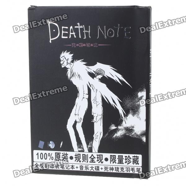 Cute Death Note Style Notebook with Goose Quill & Music CD (75-Page) sosw fashion anime theme death note cosplay notebook new school large writing journal 20 5cm 14 5cm