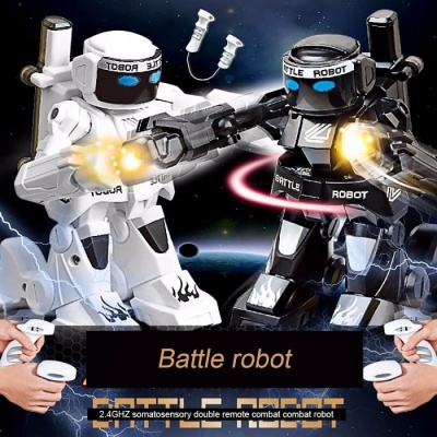 2.4G Somatosensory Remote Control Battle Robot Toy Two Competition Fighting Children\'s Robot Model Educational Toys White