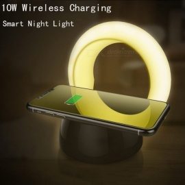 2-in-1 Desktop Wireless Charger For Samsung S8 8 Plus, 10W 5V / 2A Fast Charging Adjustable Brightness Night Light White/White
