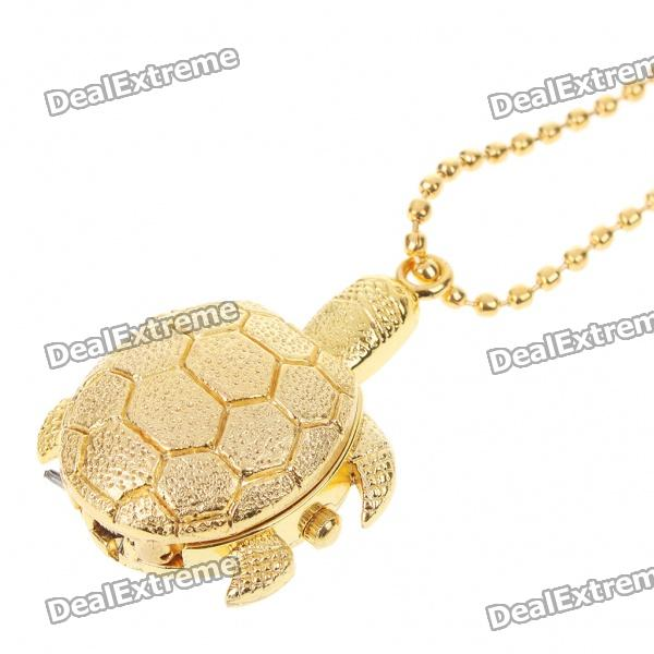Cute Golden Turtle Style Stainless Steel Quartz Watch with Neck Chains (1 x 377) cute key style alloy quartz watch with neck chains 1 377