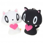 Mini Cat Couple Figure Toy with Suction Cups - White + Black (Pair)