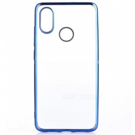 ASLING Transparent Back Case for Xiaomi 8 Electroplating TPU Soft Cover Protector - Blue