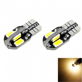 HONSCO 2PCS W5W T10 2W 8-SMD 5730 LED 100lm Warm White Light Dome Side License Bulbs DC 12V