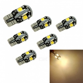 HONSCO 6PCS T10 10SMD 5730 Warm White 194 W5W LED 168 Car Turn Side License Plate Light Lamp Bulbs