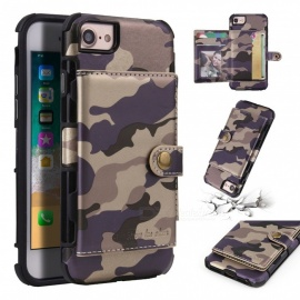 COOHO Camouflage Pattern Multi-function Shockproof Protective PU Back Case with Card Slots for IPHONE 7 / 8 - Purple
