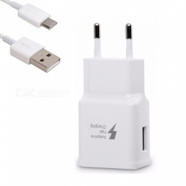 Quick Fast EU Plug Travel Charger Wall Adapter + USB Type-C Charging Cable for Samsung S9 / S8 / Note8 / S8 Plus - White