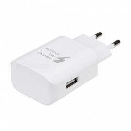 USB 5V / 9V Fast Charging Travel Wall Powe Adapte for Samsung Mobile Phone - White (EU Plug)