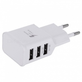 5V 3A 3 USB Ports Travel Charger Adapter EU Plug - White