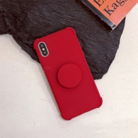 Cooho Solid Color Shockproof Fashion Protective TPU Back Case with Holder for IPHONE X - Red
