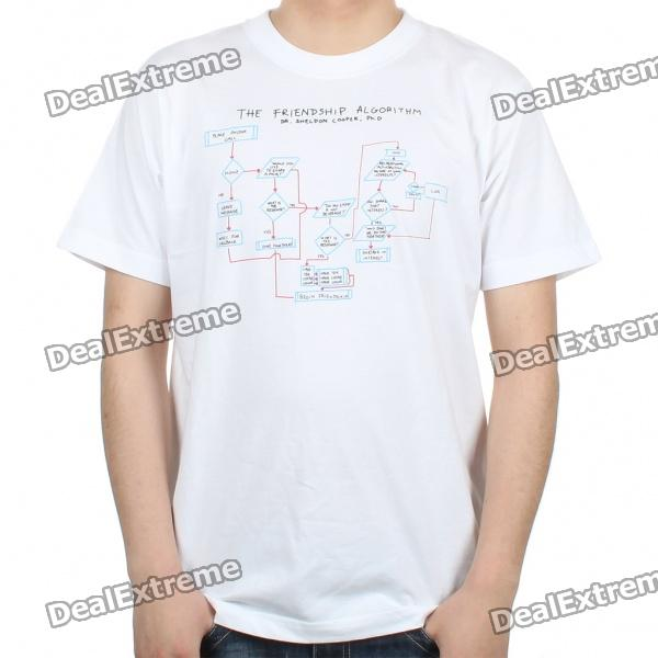 The Big Bang Theory Series The Friendship Algorithm Design Cotton T-shirt - White (Size M) the big bang theory series the flash design cotton t shirt red size m