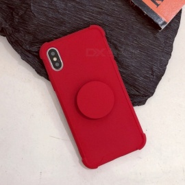Cooho Solid Color Shockproof Fashion Protective TPU Back Case with Holder for IPHONE 7 PLUS / 8 PLUS - Red