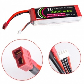 HJ POWER 1PC 11.1V 30C 4200mAh T plug High Lipo Battery Remote Control Helicopter Quadcopter Drone Part