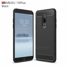 ZHAOYAO Protective Soft TPU Carbon Fiber Brushed Back Cover Case for Meizu 15 Plus - Black