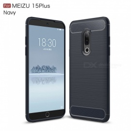 ZHAOYAO Protective Soft TPU Carbon Fiber Brushed Back Cover Case for Meizu 15 Plus - Navy