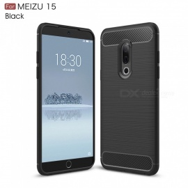 ZHAOYAO Protective Soft TPU Carbon Fiber Brushed Back Cover Case for Meizu 15 - Black