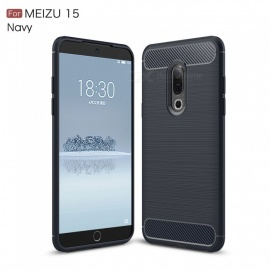 ZHAOYAO Protective Soft TPU Carbon Fiber Brushed Back Cover Case for Meizu 15 - Navy