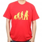 The Big Bang Theory Series Evolution Design Baumwoll-T-Shirt - Rot (Größe L)