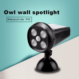 OWL Ultra Bright 4 LED Solar Motion Sensor Spotlight 300LM With Solar Panel For Path Porch Outdoor Path Wall Lights White/0-5W/Black