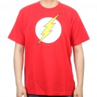 The Big Bang Theory Series The Flash Design Cotton T-shirt - Red (Size M)